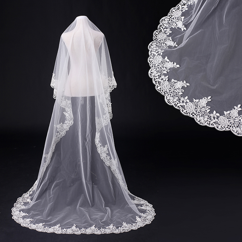 New white lace long wedding dress bridal veils vestido de for Long veil wedding dresses