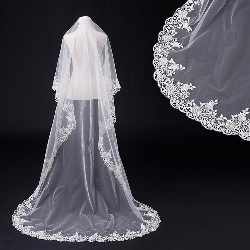 New white lace long wedding dress bridal veils vestido de for Long veils for wedding dresses