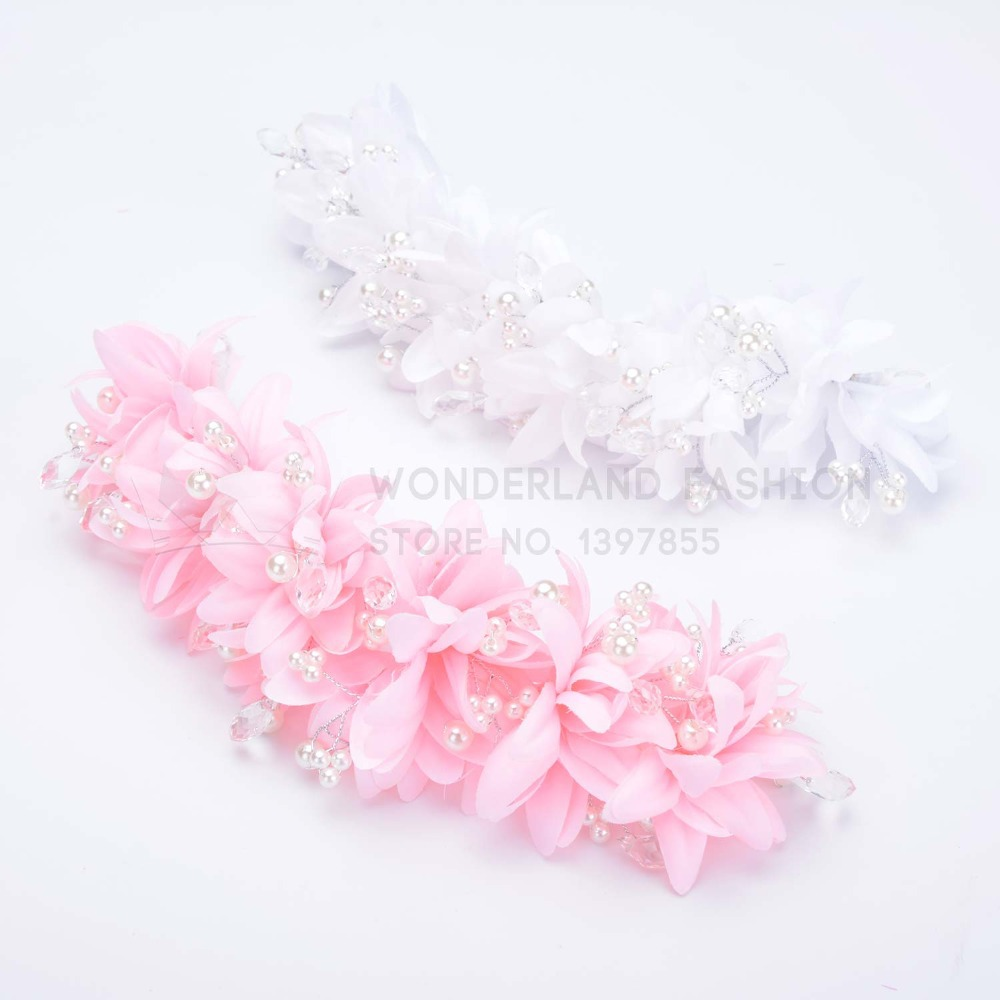 Imitation Pearl with Polyester Flower Floral Pink White Headband Hair Accessories for Women Ladies Girls Children Kids(China (Mainland))