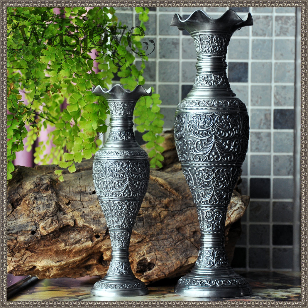 Free Shipping European Style Vintage Home Decor Zinc-alloy Tabletop Decoration Vase Flower Carved Pewter Artcraft Gift 2 sizes(China (Mainland))