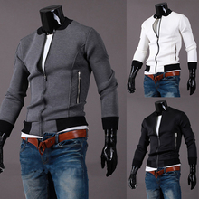 new arrival spring Hoodies Men Zipper Long-sleeved stand collar Hoody males solid Slim Fit casual sport wear sweatshirt J20(China (Mainland))
