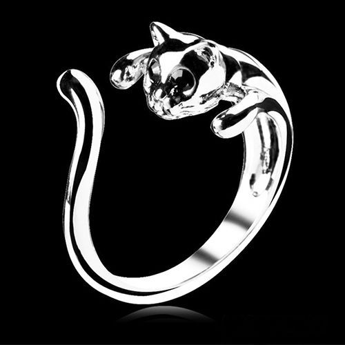 1 Piece Cool Silver Plated Kitten Cat Ring With Crystal Eyes Gift  Women's  Jewelry(China (Mainland))