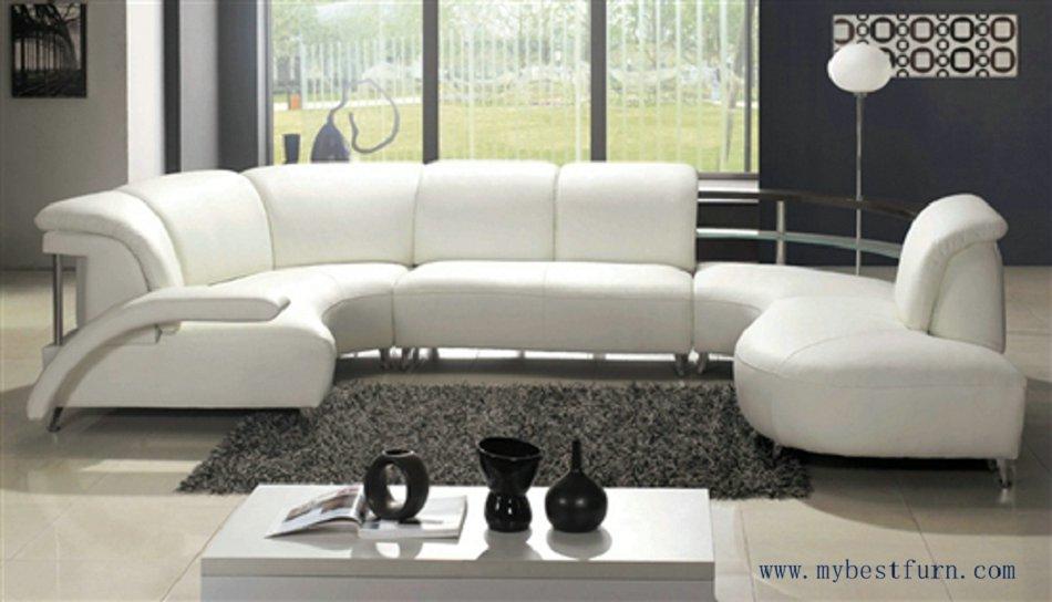 Buy Nice White Leather Sofa Free Shipping