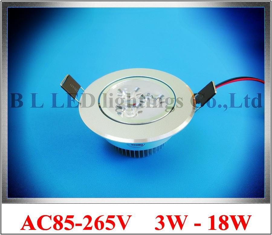 LED recessed ceiling spot light down lamp downlight AC85-265V 3W / 5W / 7W / 9W / 12W / 15W / 18W CE ROHS aluminum high bright(China (Mainland))