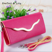 FoxTail & Lily Popular 2017 Candy Color Women Wallet PU Leather Mini Metal Hasp Long Purses High Quality Wallets for Ladies(China (Mainland))