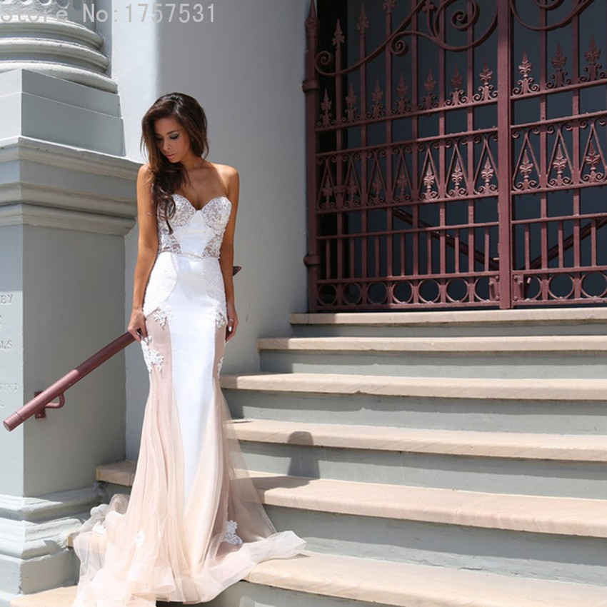 Sexy tulle see through unique mermaid wedding dress for Unique wedding dress styles