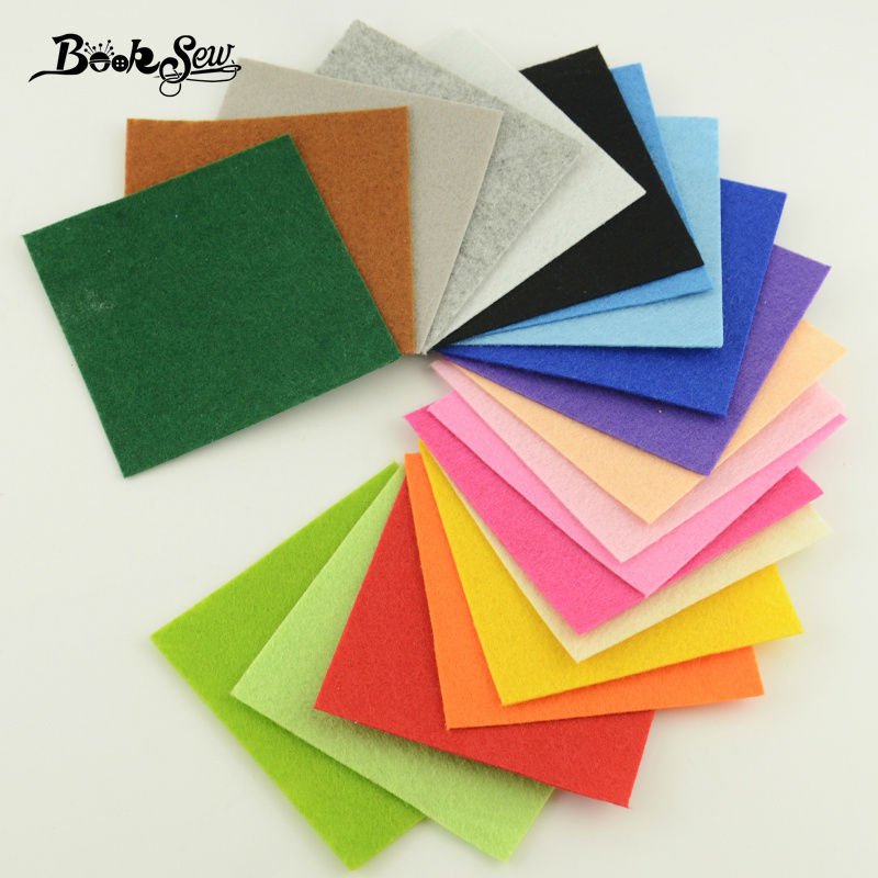 Handicrafts 100% Polyester Felt Fabric Sewing for Dolls DIY and Toys Home Decoration 1mm Thick Mix 20Colors Booksew 15cmx15cm(China (Mainland))