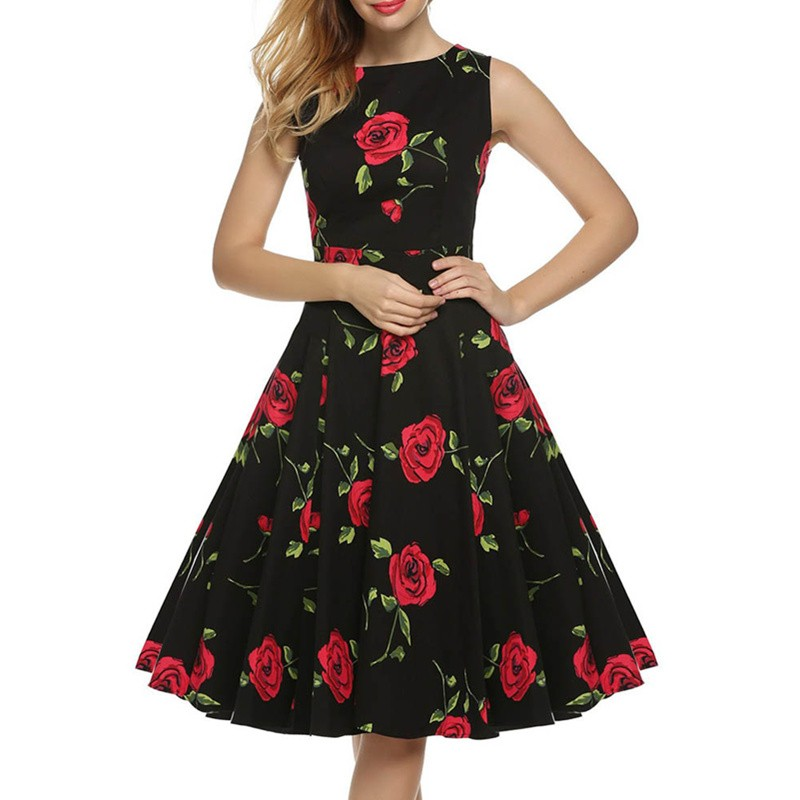 Beauty Red Rose Flower Printed O Neck Newest Vintage Woman Summer Sleeveless Casual Daily Dress L36111 (1)