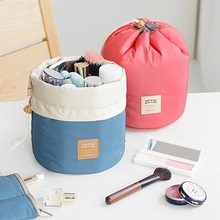 New Arrival Barrel Shaped Travel Cosmetic Bag Nylon High Capacity Drawstring Elegant Drum Wash Bags Makeup Organizer Storage Bag(China (Mainland))