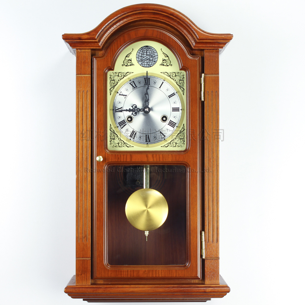 European wood wall clock pendulum Tuo living room wall ...