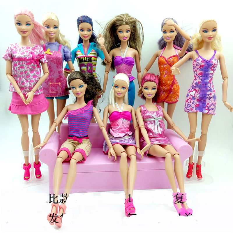 One Lot = 5 Sets Randomly Pick Fashion Lady Outfit Fashion Wear Blouse Trousers Shorts Pants Skirt Clothes For Barbie Doll(China (Mainland))