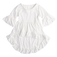2016  one piece set !Fancy Baby Girls White Dress Frills Flare Sleeve Tops Shirt Ruffles Hem Dresses