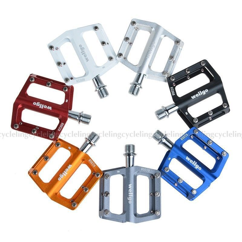 New WELLGO Aluminum Extruted Pedals for Road Bike MTB BMX DH Platform White Pedal Aluminum 7 colors(China (Mainland))