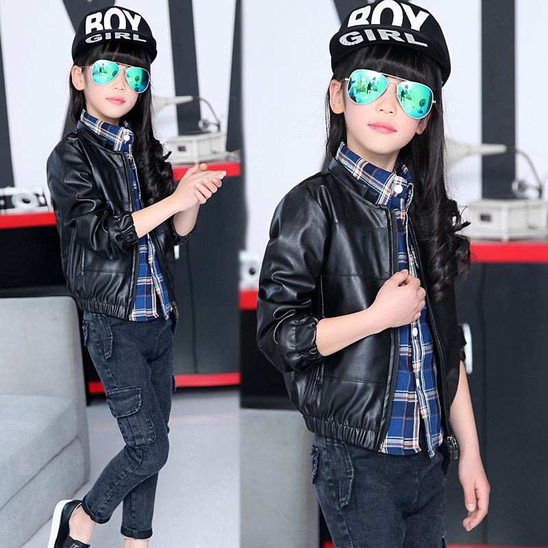 2015 New Children Clothing Outerwear Girls Leather Jackets Fashion Zipper PU Leather Kids Apparels Casual Spring Autumn Coats(China (Mainland))