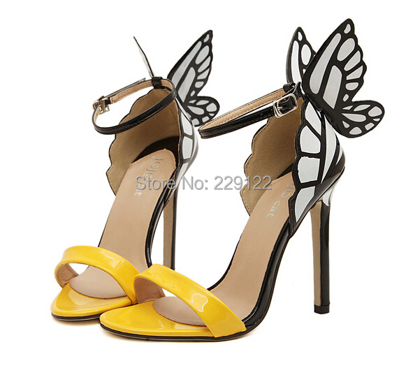 2015 Women High Heels Colorful Butterfly JC Heeled Sandals Pumps Bow Party Shoes Bridal Silver/Yellow - JiuYang Fashion Jewelry & Clothing store