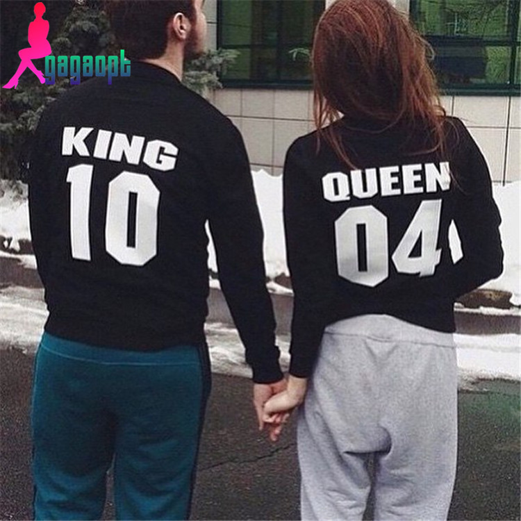 gagaopt 2016 lovers print king and queen hoodie fashion. Black Bedroom Furniture Sets. Home Design Ideas