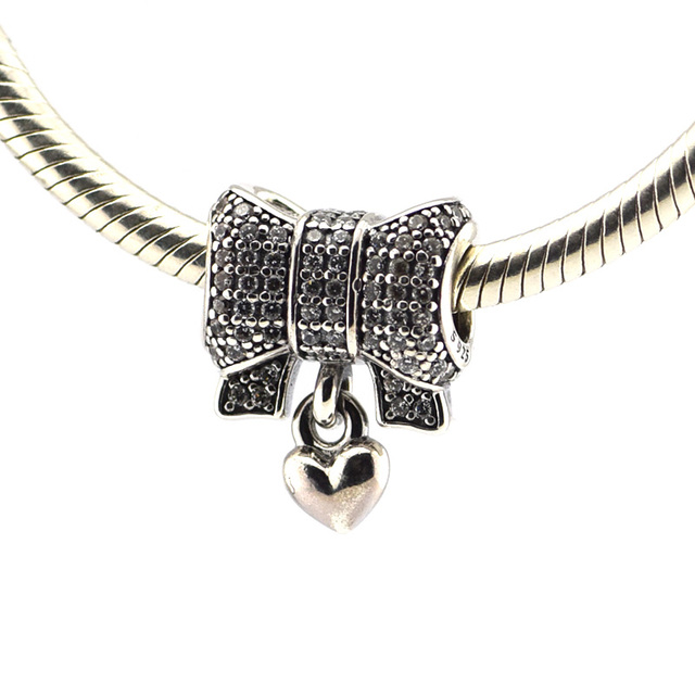 925 серебряные ювелирные изделия бусины 2015 новое в форме сердца и с бантом проложить ясно CZ бусины Fit подвески пандора браслет DIY мода ювелирных изделий серебро