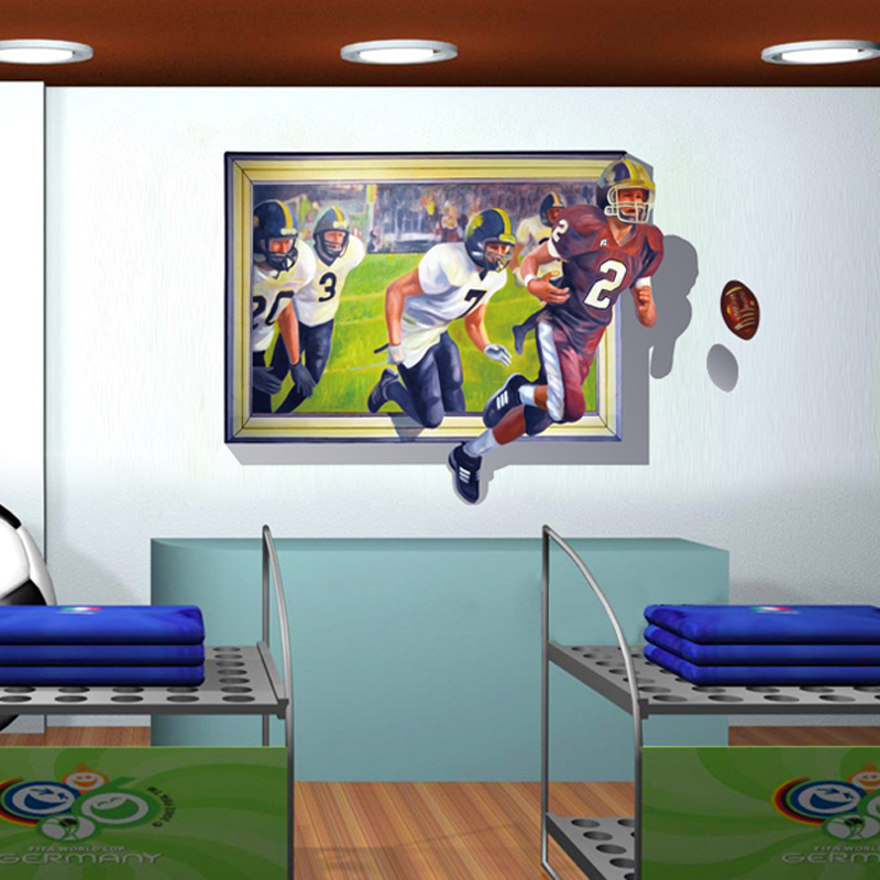 70*100cm 3D Effect Playing rugby Self Adhesive Vinyl Removable Decal for Boy Bedroom Living Room PVC Wall Sticker Mural Decor(China (Mainland))