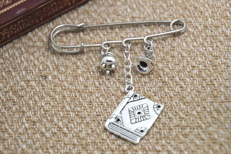 12pcs HP inspired Wizard spells themed charm font b kilt b font pin brooch 38mm