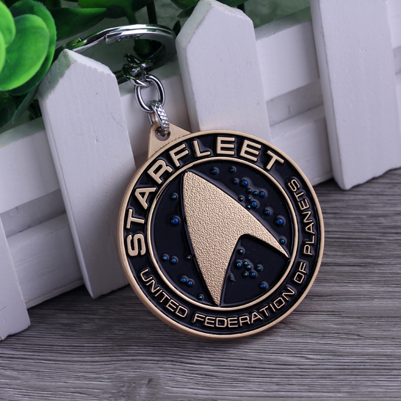 Movie Star Trek Key Chain United Federation Of Planets Charm Metal Alloy Model Jewelry Keyring High Quality Accessories Hot Sale(China (Mainland))