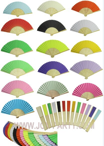 Free shipping 30pcs/lot solid color Paper Hand Fan wedding fovor party decorative paper crafts 15 colors for choice(China (Mainland))