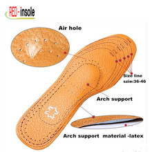 Free Shipping  Unisex arch support Genuine Leather Insole Absorb Shock Release Moisture Insole For cowskin shoe Men/Women Health