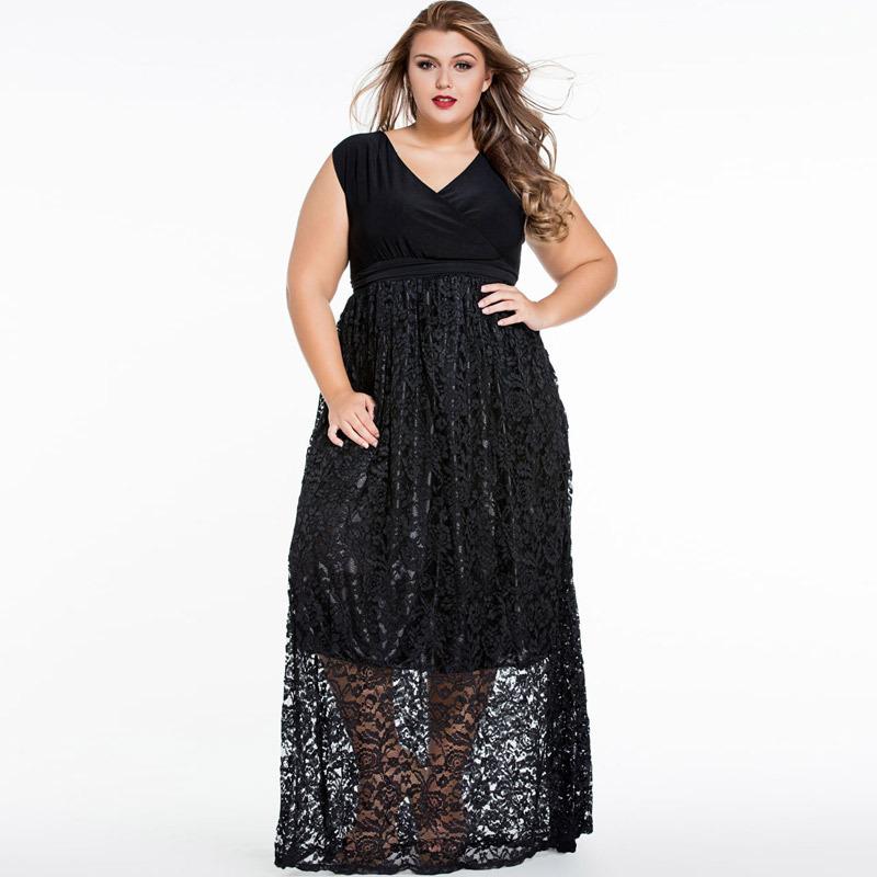 Womens Elegant Evening Long Dress Fashion V Neck Sleeveless High Waist Big Size Prom Lace Patchwork Summer Maxi Dress Robe 4XL(China (Mainland))