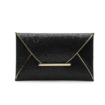 2016 Fashion Womens Sequins Envelope Bag Evening Party Female Clutch Evening Bag Purse for Women Black bolsa Sac Free Shipping