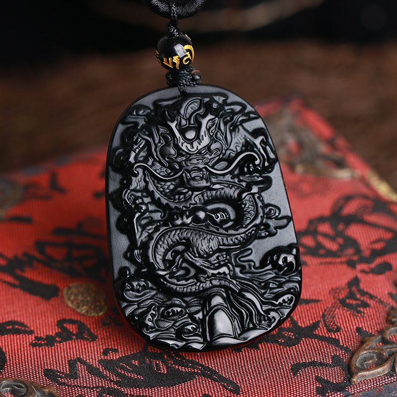 Fine carving Chinese natural black A obsidian carved dragon black jade pendant(China (Mainland))