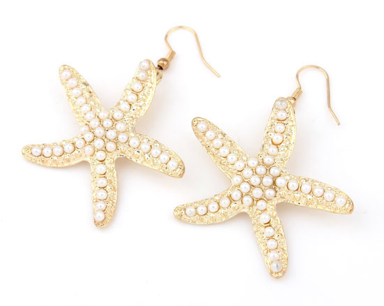 New Fashion Trend Antique Gold Plated Cute Faux Pearl Lovely Colorful Starfish African Beads Drop Earrings Jewerly(China (Mainland))