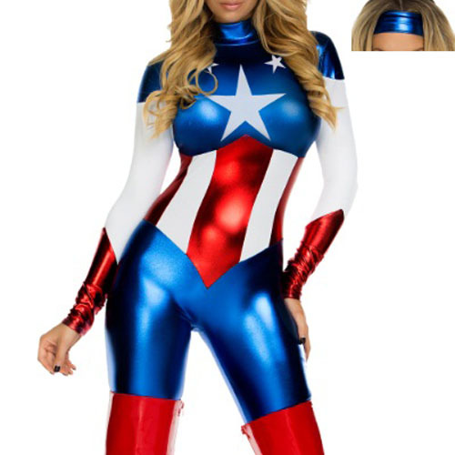 Newest Captain America cosplay, sexy suppermen Costumes,women's  halloween costume 89061