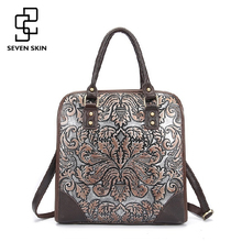 Buy Famous Brand Ladies Handbags Genuine Leather Women Bag Casual Tote Floral Print Shoulder Bags 2017 Sac New Luxury Large Tote Bag for $42.97 in AliExpress store