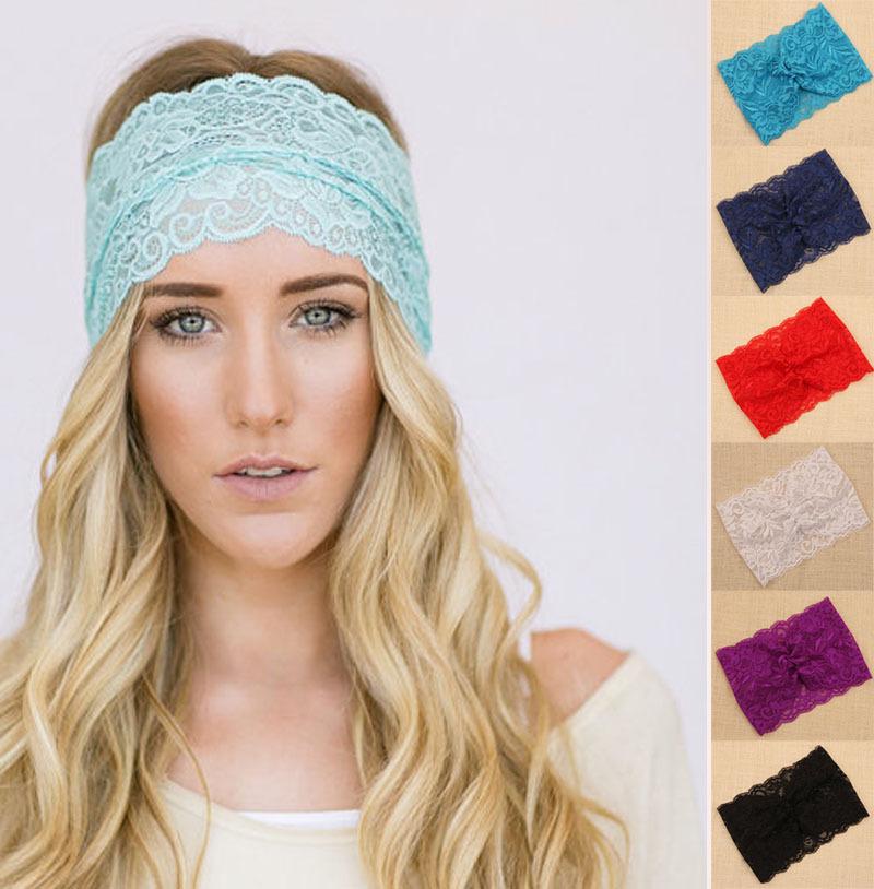 8 Colors 12 pc/lot 2015 hot Popular Lace wide Women headband, Bohemia Headwear for Lady SSFS-1035(China (Mainland))