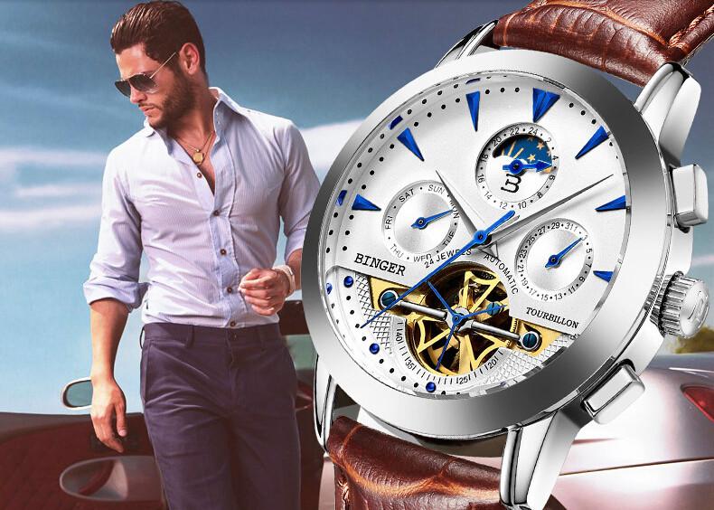 Бренд Бингер Горячий Продавать Оптовая мужская роскошные часы мужские Механические часы Из Розового Золота Кожаный автоматическая дата Наручные Часы
