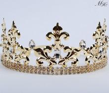 Men King Prince Hair Crown Imperial Medieval Fleur De Lis Gold Tiara Diamante Headpiece Clear Crystal Art Deco Party Costumes(China (Mainland))