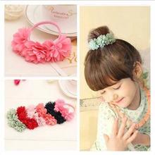 2016 HOT New Fashion Chiffon Flowers Children Girls Hair Accessories Rubber Bands Girl Headwear Sweet Hair Rope XHH04289