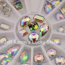 36PCS 3D Nail Art Glitter Rhinestones Wheel Nail Decoration Design Tools White AB Nail Gem(China (Mainland))