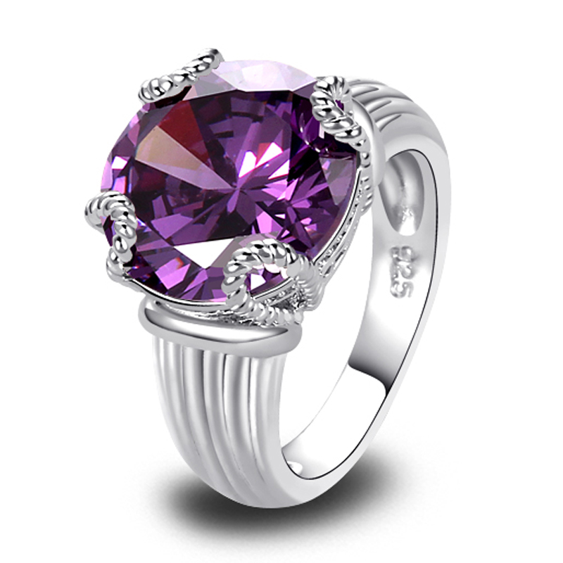 fashion new jewelry amethyst silver ring size 10