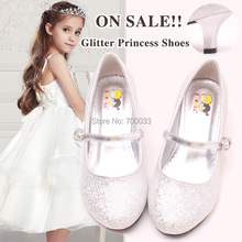 SoKoll Brand! Eco-friendly Shinig Kids Girls Wedding Party High Heels Shoes 3 Different Color Free Shipping(China (Mainland))