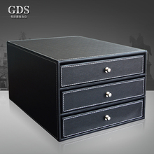 Gardensun  wood leather 3-drawer office desktop a4 file cabinet document filing organizer box holder container black(China (Mainland))