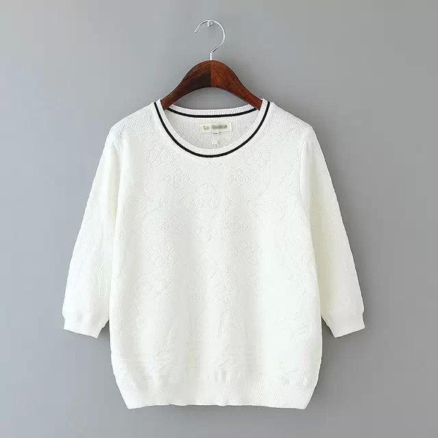 2015 Autumn Women Knit Sweaters Jacquard Knitwear 3/4 Sleeve O-Neck Tops Feminine Pullovers GD502(China (Mainland))