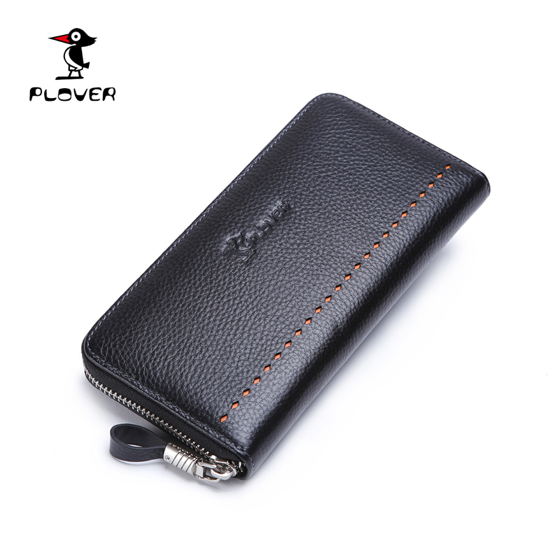 designer male wallets 4czv  Plover Wallet Men Genuine Leather Long Male Clutch Purse Luxury Designer  Zipper Coin Pocket Mens Wallet Carteira Masculina