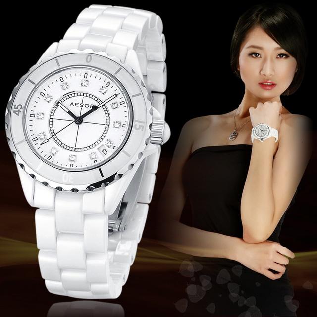 Fashion AESOP Women Dress Rhinestone Watches Waterproof Ceramic Wristwatch Rhinestone Inlaid Luxury Best Gift FREE SHIPPING 9905
