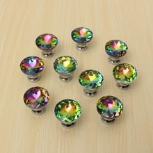 Hot Selling 10 Pcs  Multicolors Crystal Glass Clear Cabinet Knob Drawer Pull Handle Kitchen Door Wardrobe Hardware(China (Mainland))