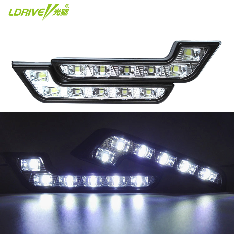 2Pcs/lot Super Bright White 6 LED DRL 7 Shape Car LED Daytime Running Driving Light Application For Mercedes Regal Kia Hyundai(China (Mainland))