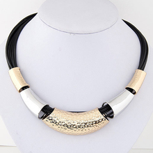 2016 Fashion Jewelry Simple Metal Wax Rope Necklaces Double Color Woman Choker Necklace Collier Femme 0407