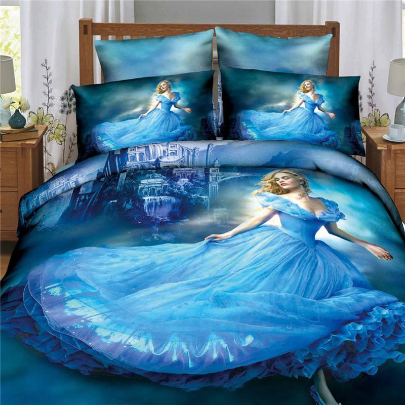 2015 Hot Sale 3d Princess Bedcover Cinderella Bedding Sets