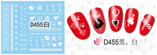 100pcs/lot Free Shipping D455-457 White And Black Water Transfer Nail Sticker key heart chain(China (Mainland))