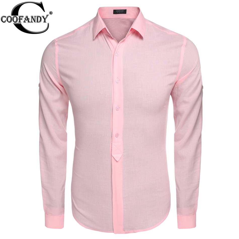 Coofandy men casual shirts slim fit long sleeve cotton for Men slim fit shirts