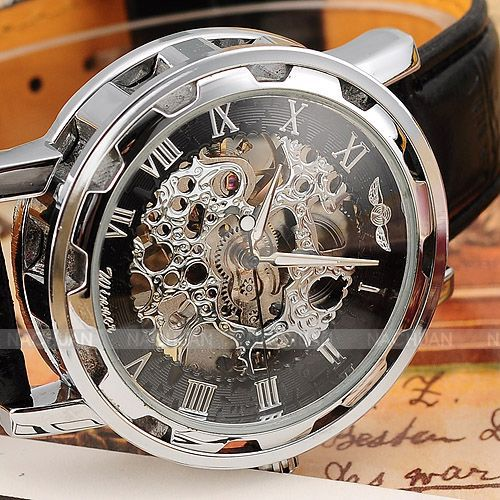 Vintage Luxury Relogio Skeleton Transparent Stainless Men Full Steel Watch Case Classic Gift Mechanical Hand Wind Watch / PMW001(China (Mainland))